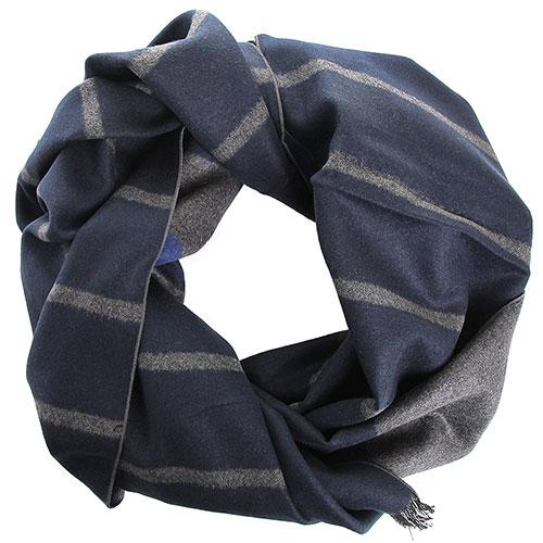 Синий шарф в серую полоску Amo Accessori из шелка, фото