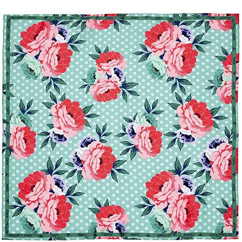 Зеленый платок Amo Accessori Peonies из шелка, фото
