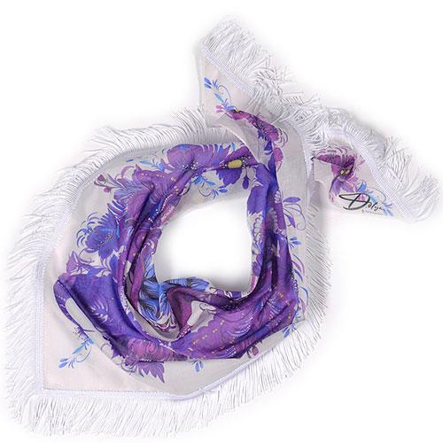Фиолетовая косынка из батиста D.OLYA by Olga Dvoryanskaya с бахромой, фото