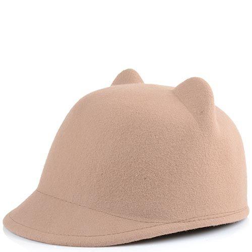 Жокейская кепка с кошачьими ушками бежевая, фото