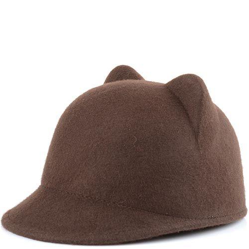 Жокейская кепка с кошачьими ушками темно-табачного цвета, фото