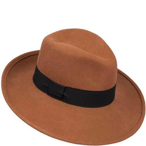 Шляпа-федора Hat You коричневого цвета с черной лентой, фото