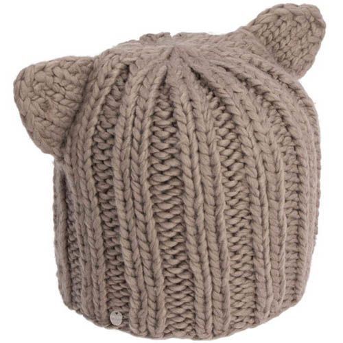 Шапка Hat You вязаная бежевого цвета с ушками, фото