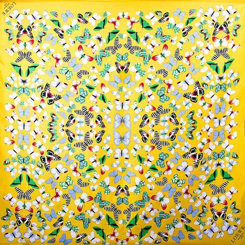 Шелковый платок Eterno желтый с бабочками, фото