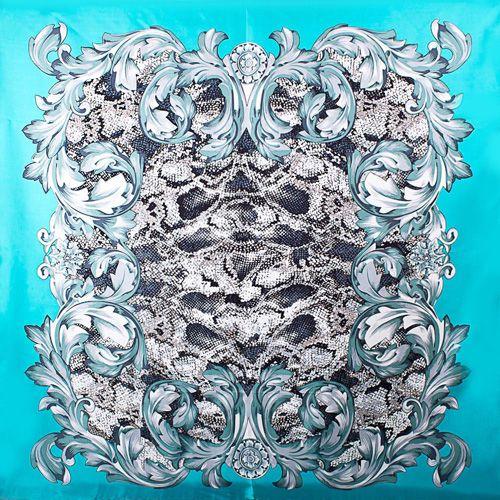 Шелковый платок Eterno бирюзовый с повторяющим рисунок шкуры рептилии принтом, фото