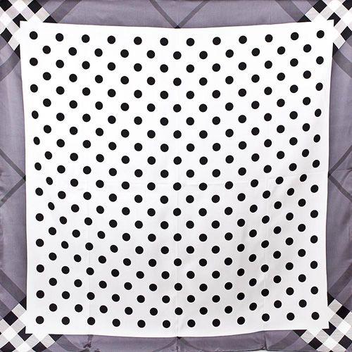 Шелковый платок Eterno белый в черный горох, фото