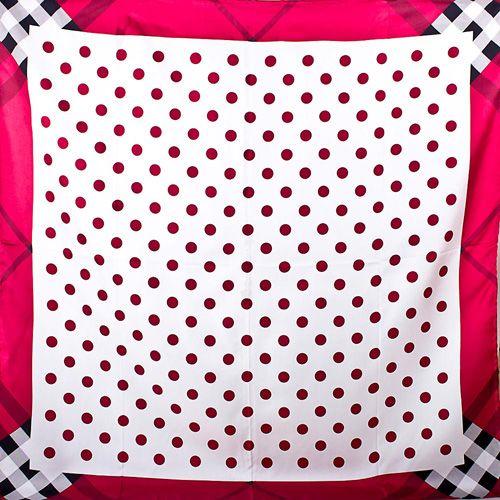 Шелковый платок Eterno белый в красный горох, фото