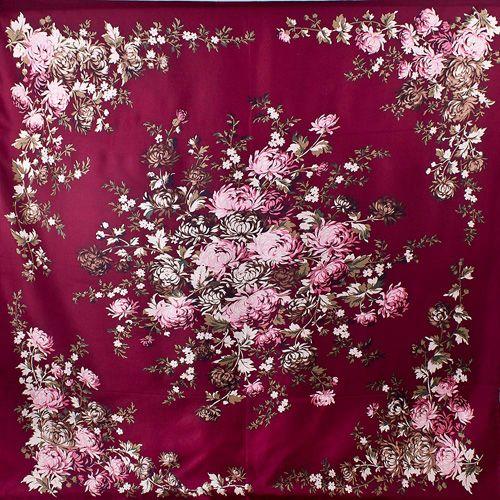 Шелковый платок Eterno насыщенно-бордовый с цветочным принтом, фото