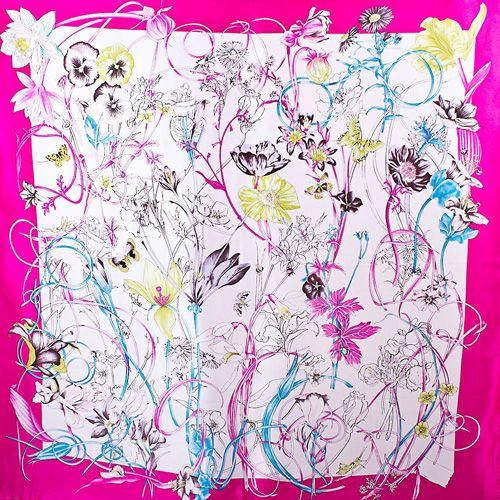 Шелковый платок Eterno цвета фуксии с цветочным принтом, фото