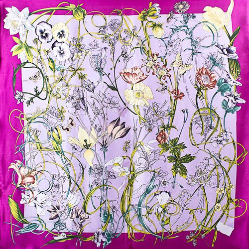 Шелковый платок Eterno цвета радиантовой орхидеи с цветочным принтом, фото