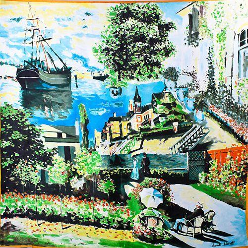 Шелковый платок Eterno с репродукцией Клода Моне Терраса в Сент-Андресс, фото