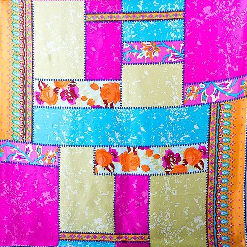 Шелковый платок Eterno розово-голубой со светло-оливковым, фото