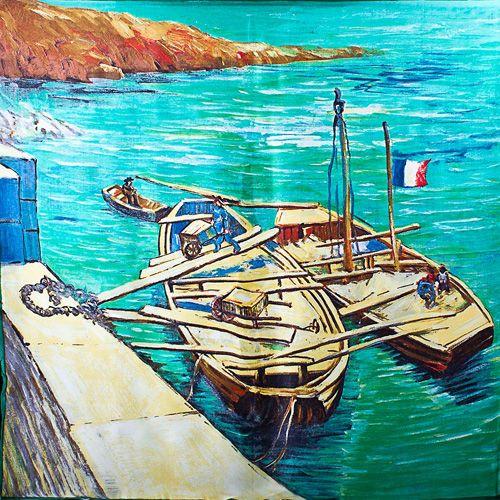 Шелковый платок Eterno Ван Гог Лодки с песком у причала, фото