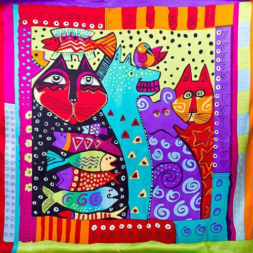 Шелковый яркий платок Eterno с котами, фото