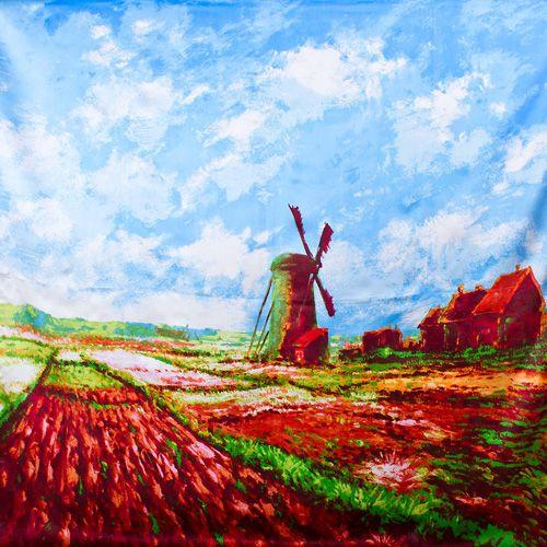 Шелковый платок Eterno Клод Моне Поле тюльпанов и мельница, фото