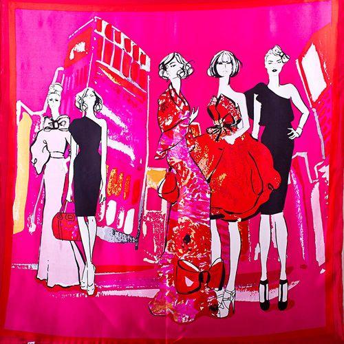 Шелковый платок Eterno ярко-розовый с fashion-принтом и красной каймой, фото