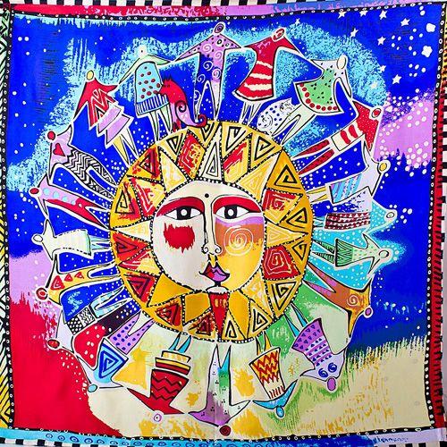 Шелковый платок Eterno с солнцем в хороводе 85 х 85 см, фото
