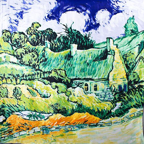 Шелковый платок Eterno с репродукцией Ван Гога Хижины в Кордевилле, фото
