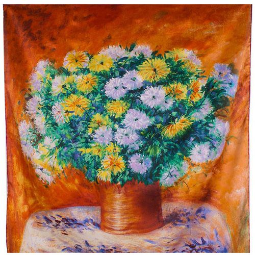 Платок Eterno SilkArt Астры в стиле импрессионизма, фото