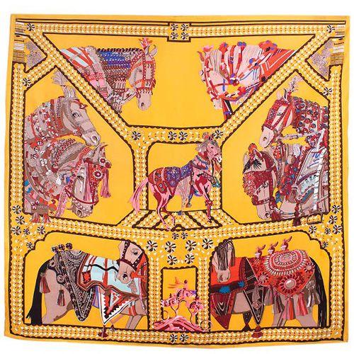 Шелковый платок Eterno желтый Лошади, фото