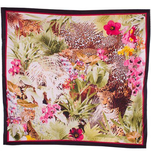 Шелковый платок Eterno Джунгли с розовыми орхидеями, фото