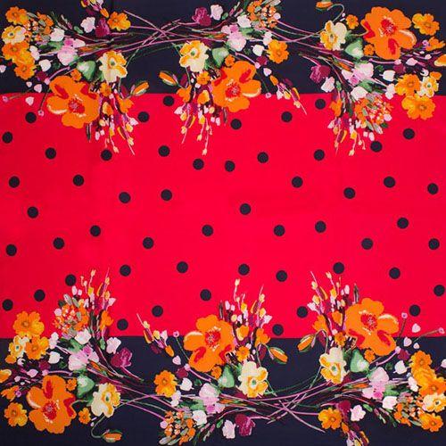 Шелковый платок Eterno Красный в горох с обрамлением из цветов, фото