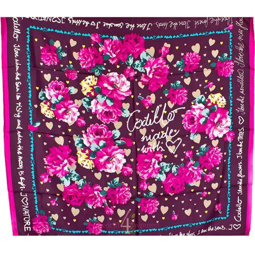 Шелковый платок Eterno в оттенке пурпура с цветочным принтом, фото