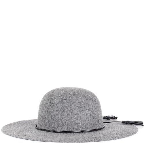Шляпа флоппи Hat You серого цвета с кожаными кисточками, фото