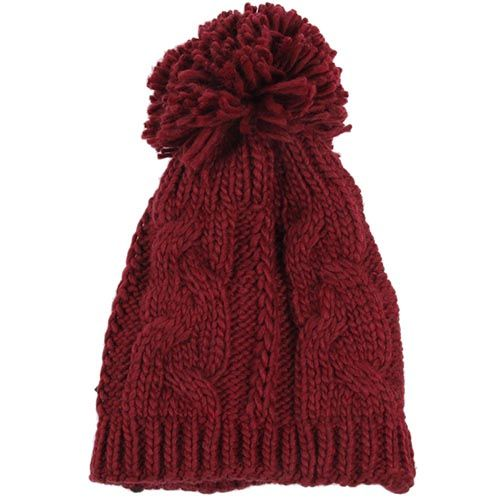 Шапка Hat You бордового цвета с большим балабоном, фото