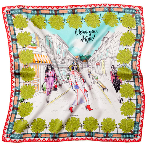 Яркий шейный платок D.OLYA by Olga Dvoryanskaya I Love You Kyiv с ручным подшивом, фото