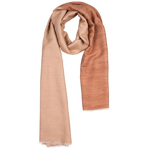 Кашемировый шарф Chadrin двухсторонний коричневый с бежевым, фото