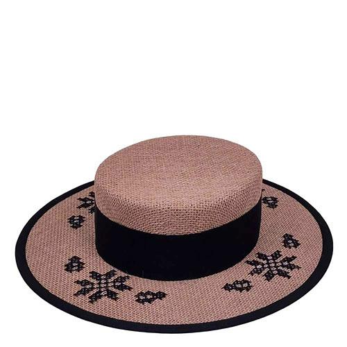 Льняная шляпа-канотье Shapelie с орнаментом черного цвета, фото