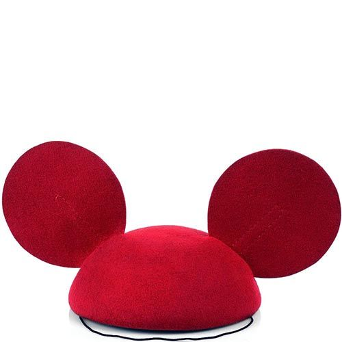 Шляпка-таблетка Ушки Микки Мауса бордового цвета, фото