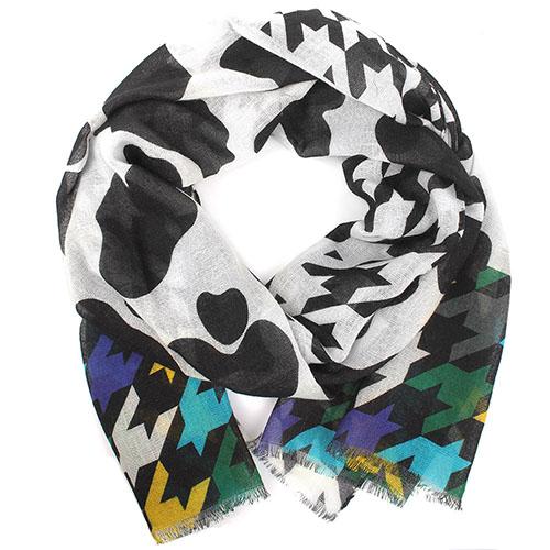 Черно-белый палантин Boutique Moschino из шерсти с ярким краем, фото