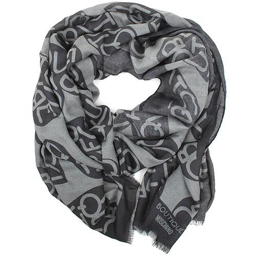 Серый палантин Boutique Moschino в сердечках с брендовым принтом, фото