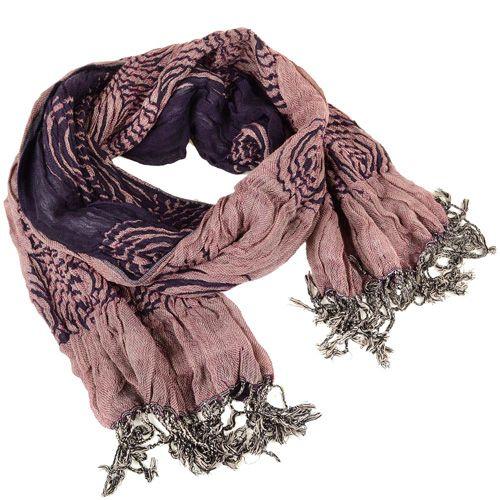 Шарф двойной двусторонний жатый с пыльно-розовой стороной и фиолетовой, фото