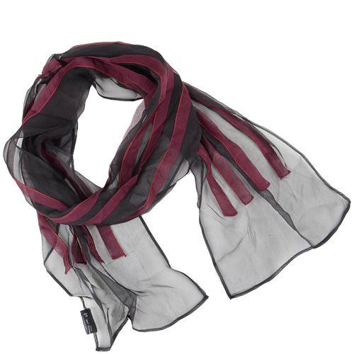 Узкий черный шелковый шарф с бордовыми рюшами, фото
