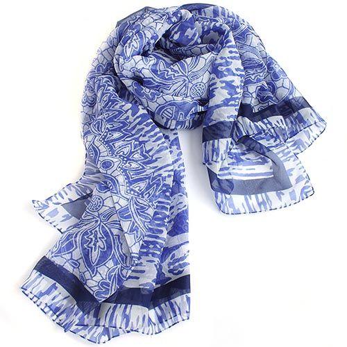 Палантин-парео Fattorseta с нежным цветочным принтом синего цвета, фото