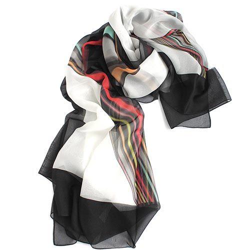 Палантин-парео Fattorseta черно-белый с разноцветными полосочками, фото