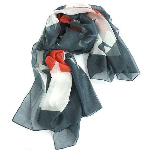 Палантин-парео Fattorseta кораллово-бирюзовый с цветочной принтом, фото