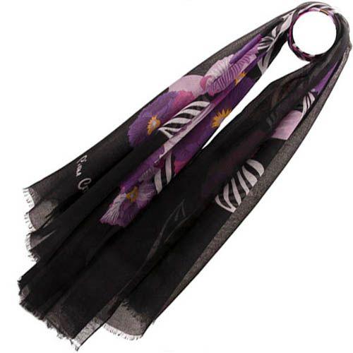 Тонкий шарф Pierre Cardin черный с фиолетовым, фото