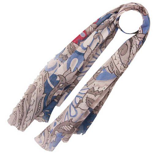 Тонкий шарф Pierre Cardin серый с голубым и лиловым и с декором в виде белых жемчужен, фото