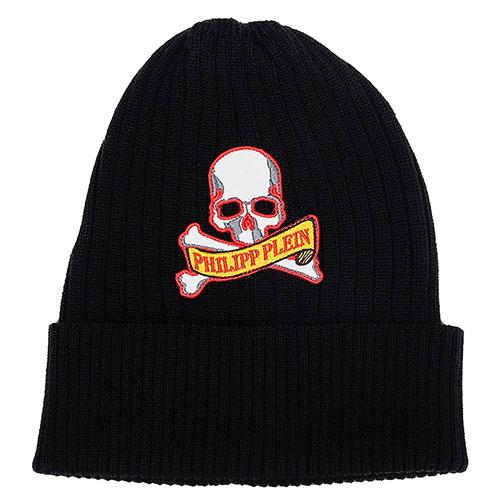 Черная шапка Philipp Plein с нашивкой в виде черепа, фото