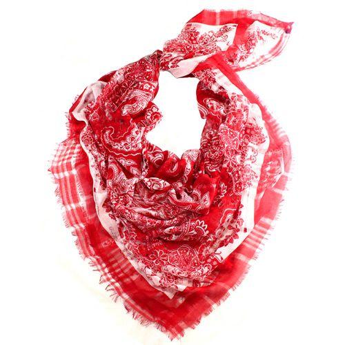Красный платок-парео Fattorseta Африканский шик с цветочным принтом, фото
