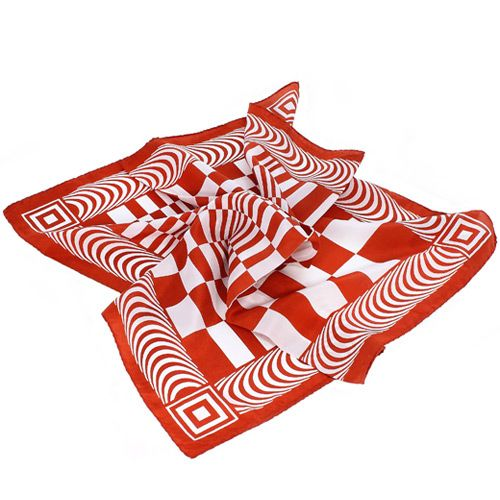 Шелковый шейный итальянский платок Fattorseta с геометрическим принтом, фото