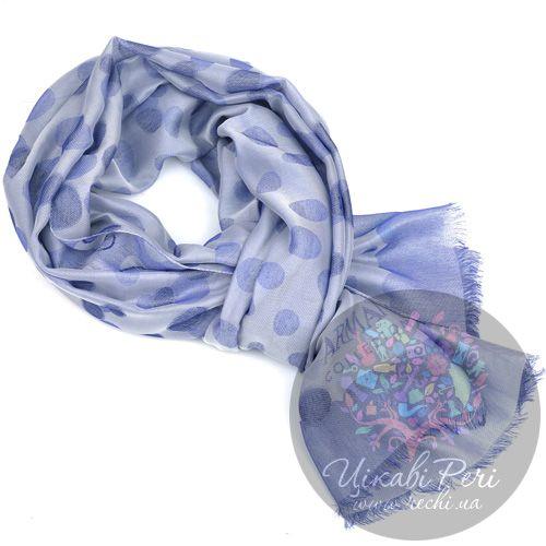 Палантин Armani Collezioni в горох голубой с легким синеватым оттенком, фото