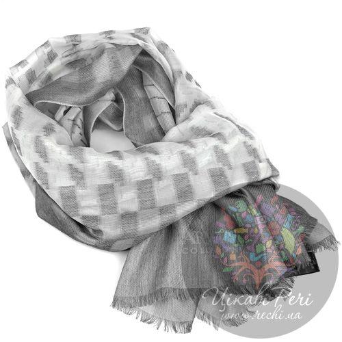 Шарф Armani Collezioni широкий серый с полупрозрачными элементами, фото