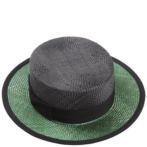 Черное канотье Shapelie с зеленым полем, фото