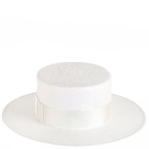 Канотье белого цвета Shapelie с декором из ленты, фото