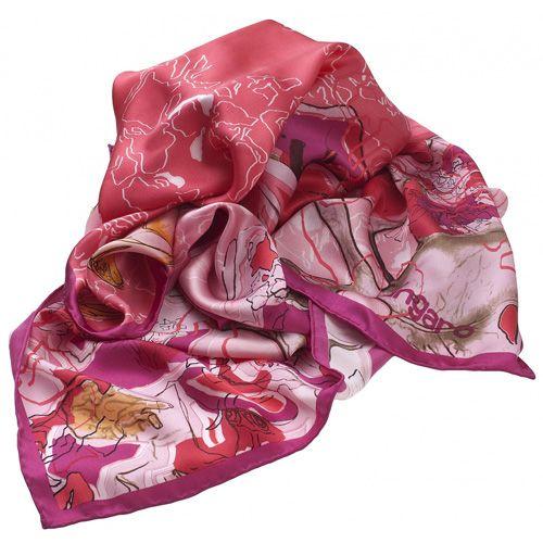 Платок Ungaro «Casoria» шелковый малиново-красный с бабочкой и цветами, фото
